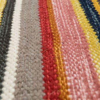 Gestreifter Flachgewebe Wollteppich Multicolor  – Bild 3
