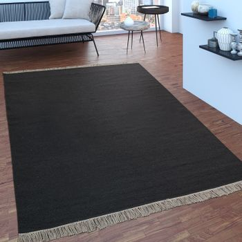 Scandi Look Fringes Wool Rug Plain In Anthracite