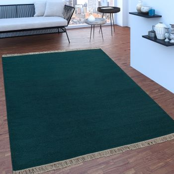 Scandi Look Fringes Wool Rug Plain In Petrol