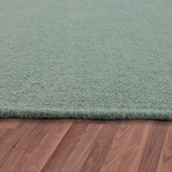 Scandi Look Fringes Wool Rug Plain In Turquoise – Bild 2
