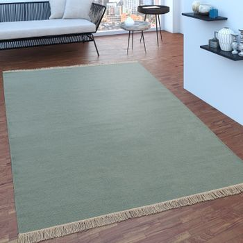 Scandi Look Fringes Wool Rug Plain In Turquoise