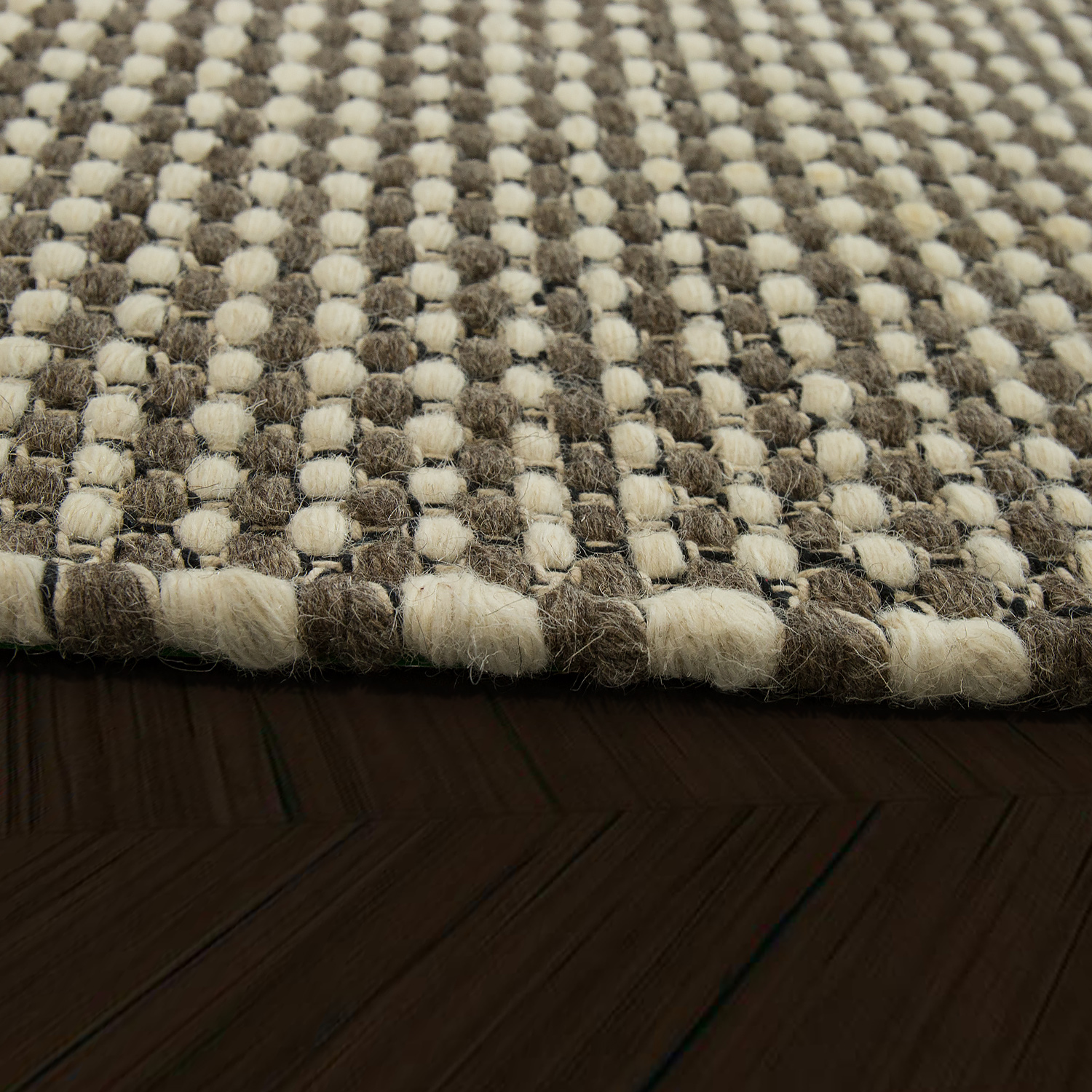 Scandi Look Wool Rug With Woven Pattern In Grey Rug24