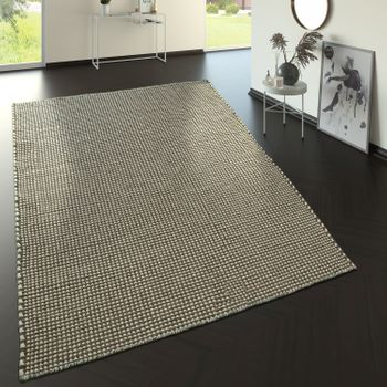 Scandi Look Wool Rug With Woven Pattern In Grey – Bild 1