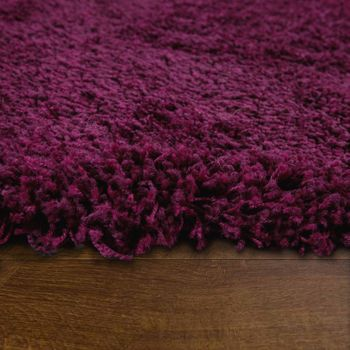 Deep Pile Shaggy Rug Cuddly Soft Long Pile Modern Plain Purple – Bild 2