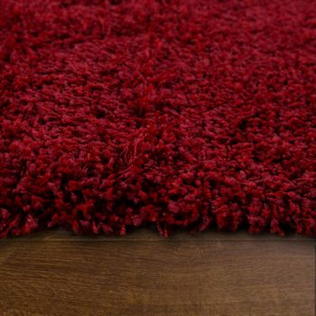 Deep Pile Shaggy Rug Cuddly Soft Long Pile Modern Plain Colours In Red – Bild 2