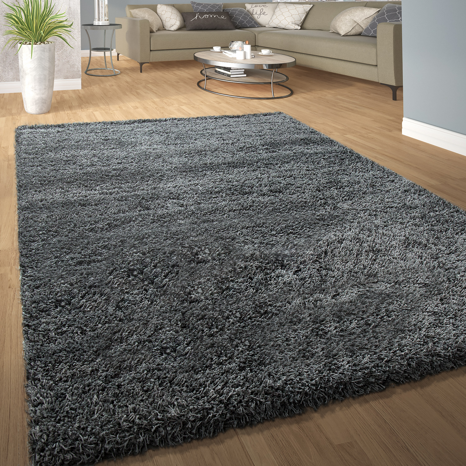 tapis shaggy poils hauts confortable doux poils longs moderne uni coloris gris tapis tapis. Black Bedroom Furniture Sets. Home Design Ideas