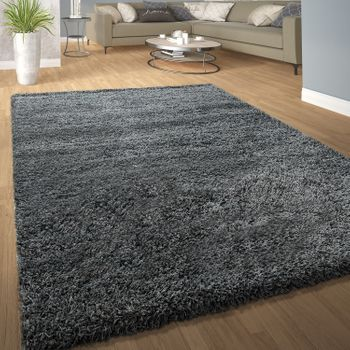 Deep Pile Shaggy Rug Cuddly Soft Long Pile Modern Plain Colours In Grey – Bild 1