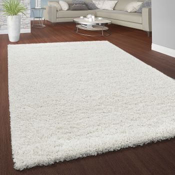 Deep Pile Rug Cuddly Plain Colours White