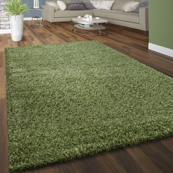 Deep Pile Rug Cuddly Plain Colours Green