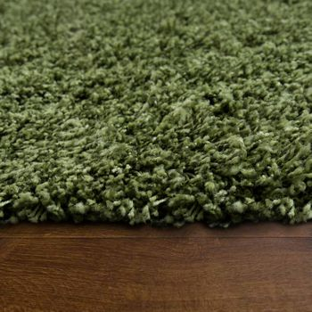 Deep Pile Shaggy Rug Cuddly Soft Long Pile Modern Plain Colours In Green – Bild 2
