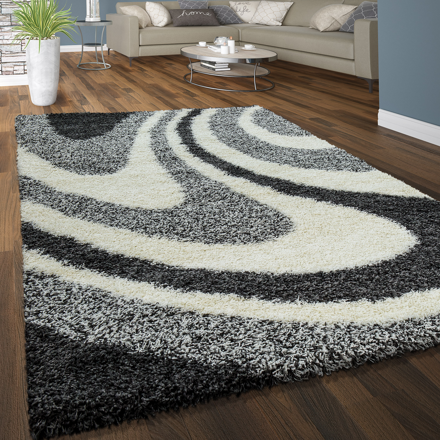 tapis shaggy poils hauts confortable doux poils longs ondul gris blanc anthracite tapis tapis. Black Bedroom Furniture Sets. Home Design Ideas