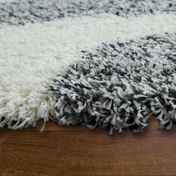 Deep Pile Shaggy Rug Cuddly Soft Long Pile Wavy Grey White Anthracite – Bild 2