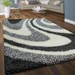Hochflor Teppich Kuschelig Gewellt Grau 001