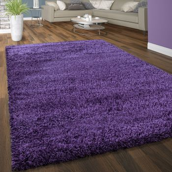 Deep Pile Shaggy Rug Cuddly Soft Long Pile Modern Plain Colours In Purple – Bild 1