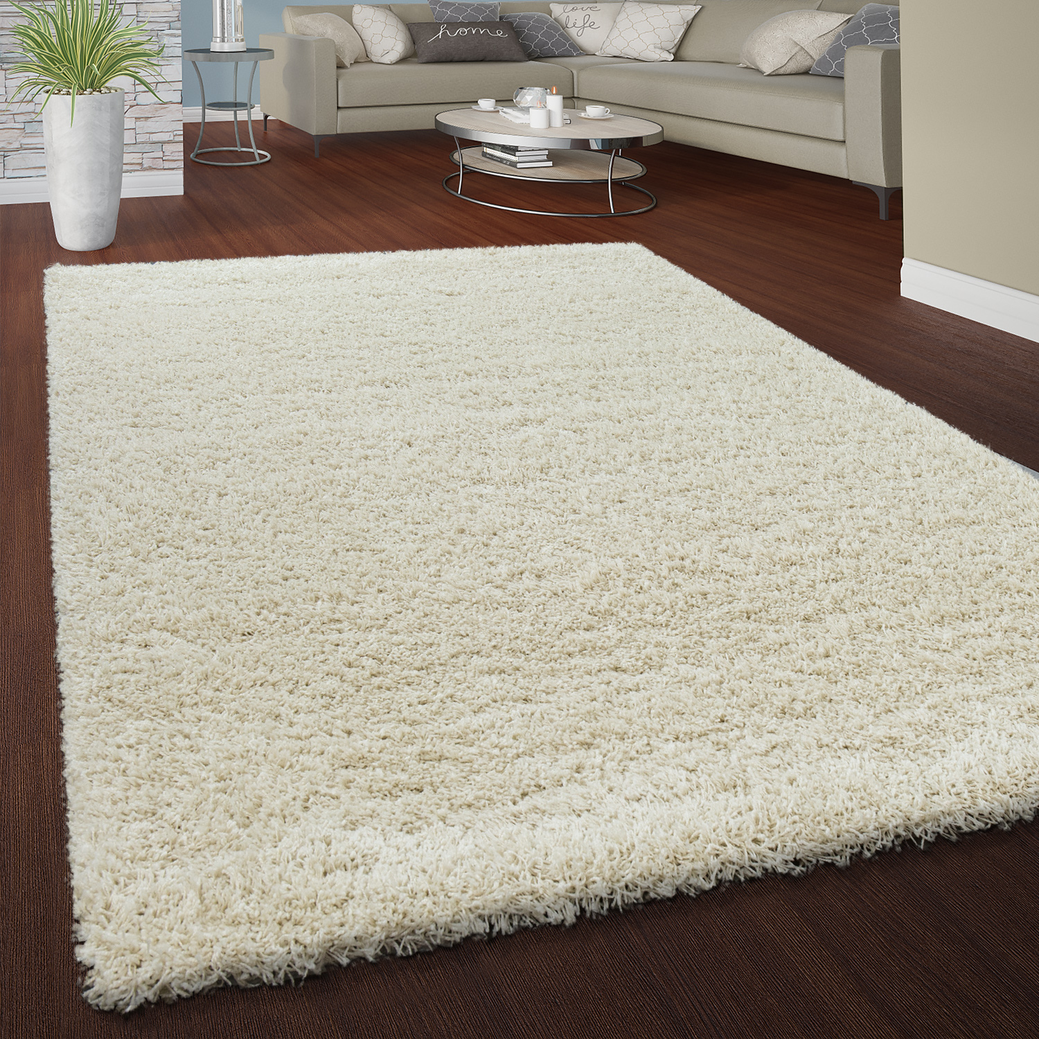Deep Pile Rug Cuddly Plain Colours Cream Rug24