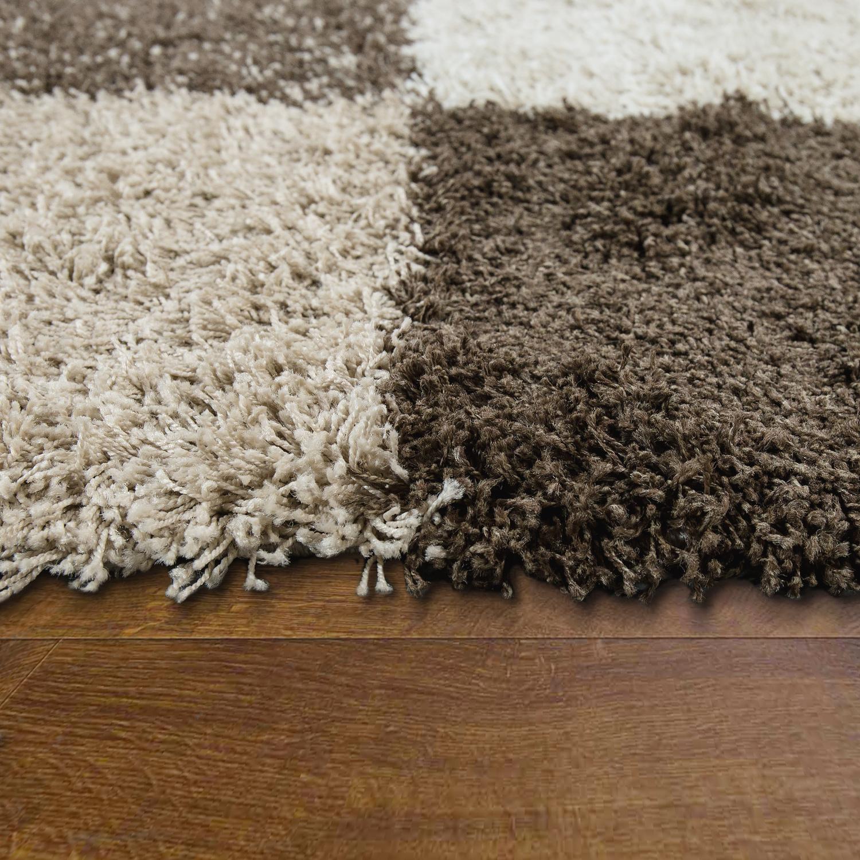 hochflor shaggy teppich kuschelig weicher langflor karo muster beige braun creme teppiche. Black Bedroom Furniture Sets. Home Design Ideas