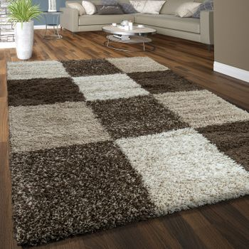 Deep Pile Shaggy Rug Cuddly Soft Long Pile Check Pattern Beige Brown Cream – Bild 1