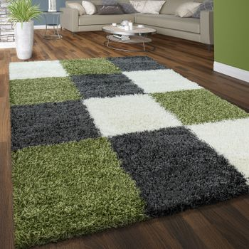 Deep Pile Rug Check Green White Grey