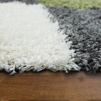 Deep Pile Shaggy Rug Cuddly Soft Long Pile Check Pattern Green White Grey – Bild 2