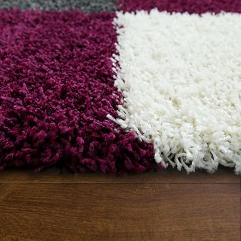 Deep Pile Shaggy Rug Cuddly Soft Long Pile Check Pattern Purple White Grey – Bild 2