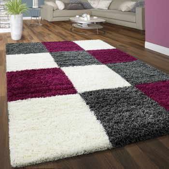 Deep Pile Shaggy Rug Cuddly Soft Long Pile Check Pattern Purple White Grey – Bild 1