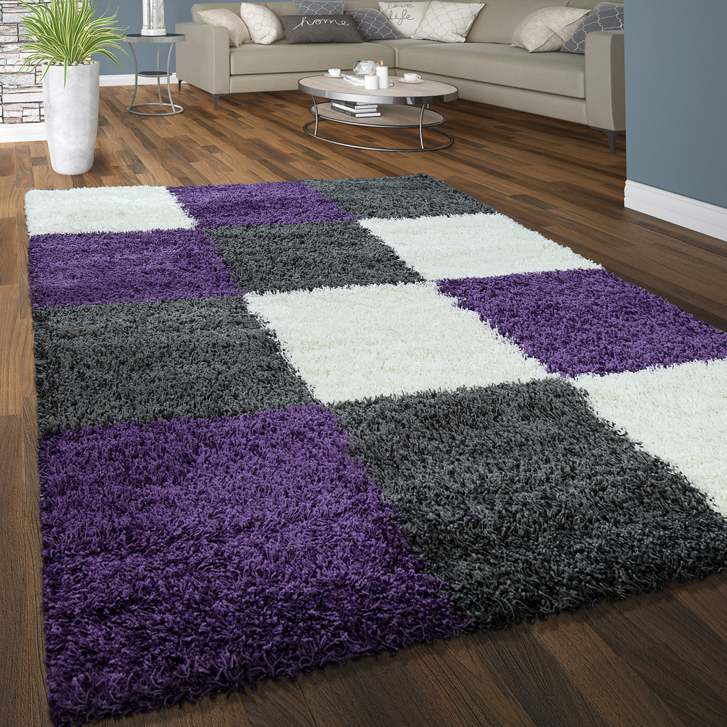 tapis shaggy poils hauts confortable doux poils longs carreaux blanc gris lilas tapis tapis. Black Bedroom Furniture Sets. Home Design Ideas