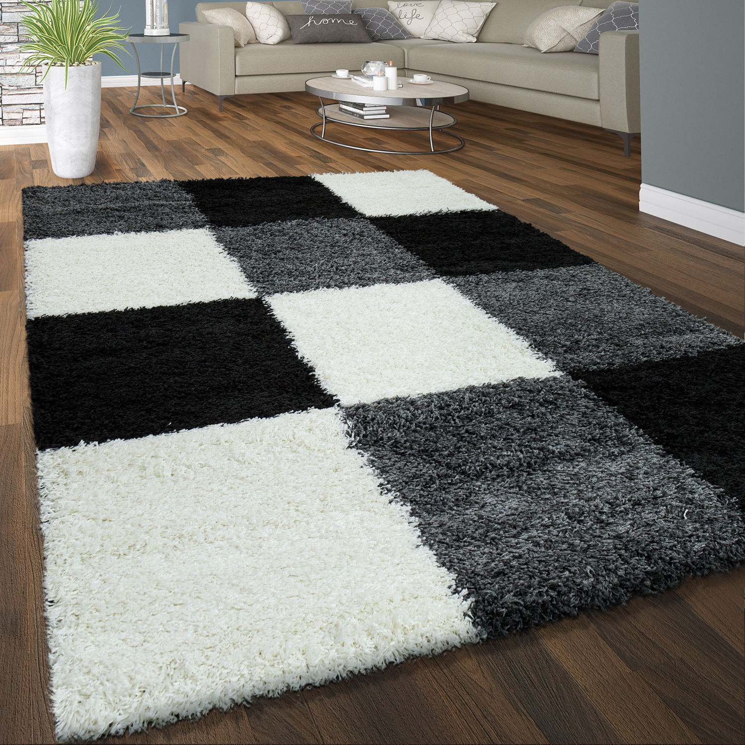 tapis shaggy poils hauts confortable doux poils longs carreaux motif gris noir blanc tapis tapis. Black Bedroom Furniture Sets. Home Design Ideas