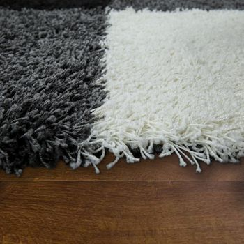 Deep Pile Shaggy Rug Cuddly Soft Long Pile Check Pattern Grey Black White – Bild 2