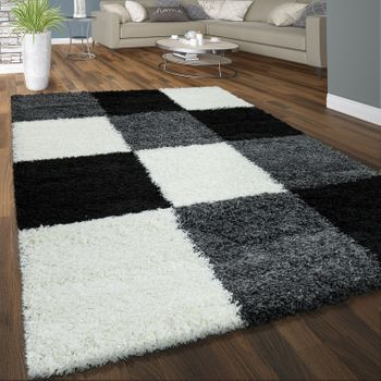 Deep Pile Shaggy Rug Cuddly Soft Long Pile Check Pattern Grey Black White – Bild 1