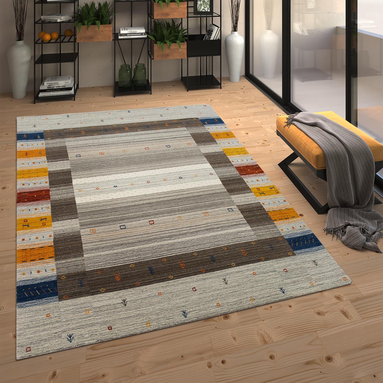 tapis en laine loribaft bordure multicolore fait tapis24. Black Bedroom Furniture Sets. Home Design Ideas