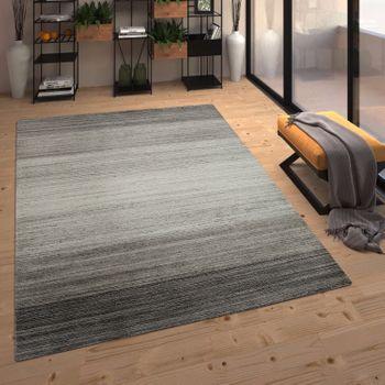 Wool Rug Stripe Pattern Silver Handmade