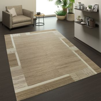 Hand-knotted Natural Rug 3D Effect Border Beige