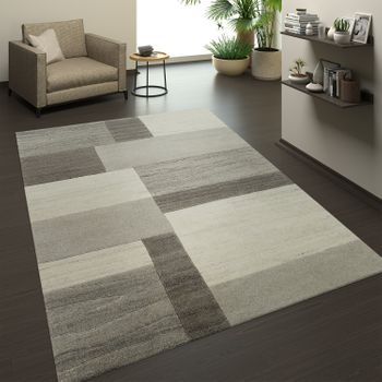 Hand-knotted Natural Rug 3D Effect Check Grey