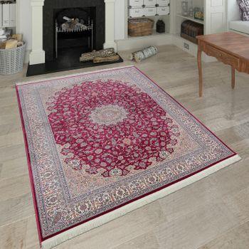 Orientalischer Acryl Teppich Ornamente Rot Creme