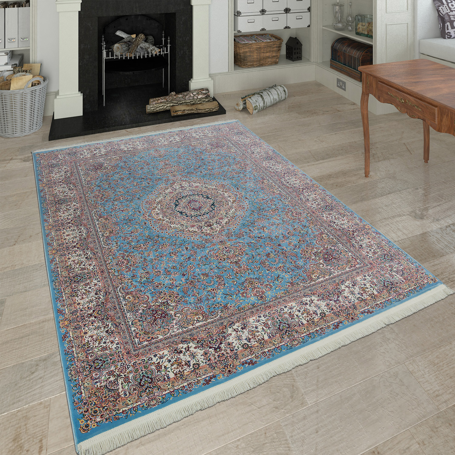 orientalischer acryl teppich ornamente beige blau teppiche orient optik. Black Bedroom Furniture Sets. Home Design Ideas