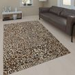 Leather Rug Mosaic Design Beige Handmade 001