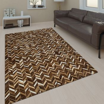 Leather Rug Zigzag Pattern Beige Handmade