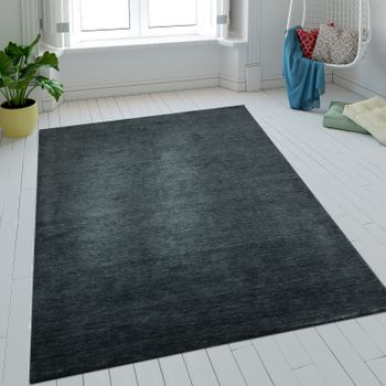Wool Rug One Colour Anthracite Handmade