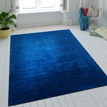 Wool Rug One Colour Blue Handmade