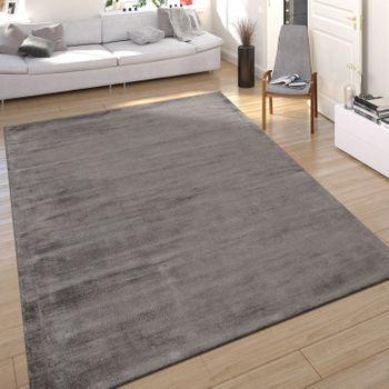 Teppich Seidenoptik Grau Handgefertigt