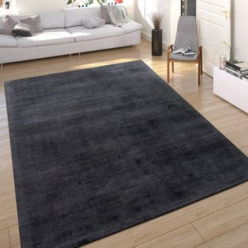 Rug Silky Look Anthracite Handmade