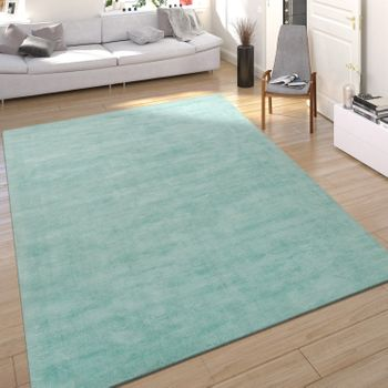 Rug Silky Look Mint Green Handmade