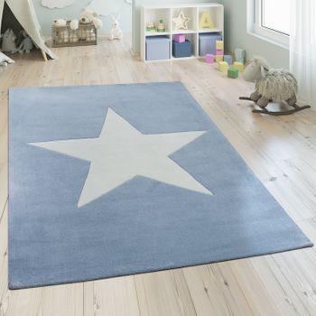 Acrylic Rug Star Motif Pastel Blue