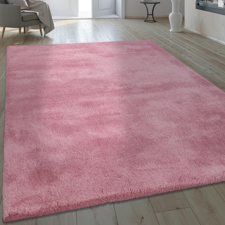 Handgefertigter Shaggy Teppich Einfarbig Pastell Pink