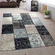 Flachgewebe Teppich Patchwork Grau 001