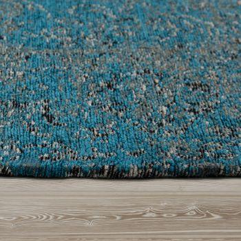 Flachgewebe Teppich Patchwork Blau – Bild 2