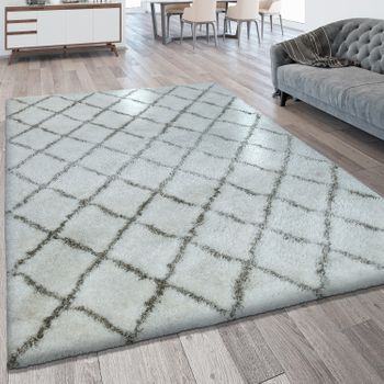 Deep Pile Rug Diamond Pattern Cream