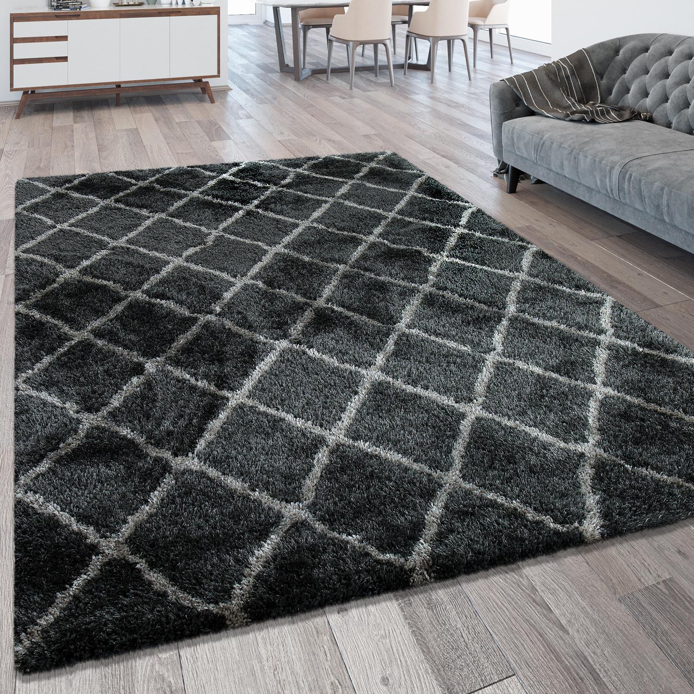 hochflorteppich rauten muster anthrazit teppiche hochflor teppiche. Black Bedroom Furniture Sets. Home Design Ideas