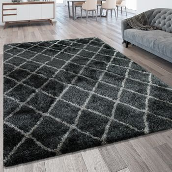 Deep Pile Rug Diamond Pattern Anthracite