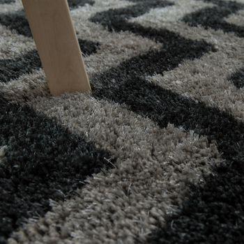 Hoogpolig vloerkleed zigzagpatroon antraciet – Bild 3